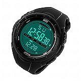 4 色 メンズ ダイバーズ ダイバー LED ライト 多機能 腕 時計 デジタル 防水 アラーム ストップウォッチ スポーツ アウトドア (ブラック)