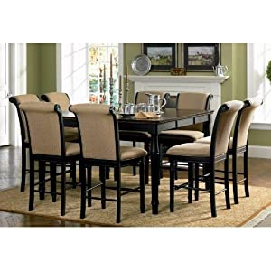 9pc Counter Height Dining Table Stools Set Cappuccino Finis
