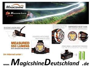 Magicshine MJ 886 Kopflampe mit Fernbedienung  550 Lumen, incl. LI ION Akku  Überprüfung und Beschreibung