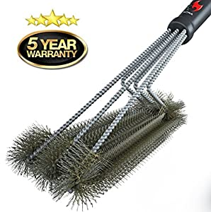 "360° CLEAN GRILL BRUSH By Kona® - 18"" Best BBQ Grill Brush - 3 Stainless Steel Brushes In 1 Provides Effortless Cleaning - FREE 5 YEAR REPLACEMENT - Great BBQ Accessories Gift - Stiff Light Weight Design - Perfect For Weber, Char-Broil, Porcelain & Infr"