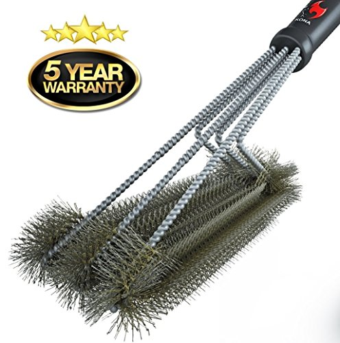 "Best Prices! 360° CLEAN GRILL BRUSH By Kona® - 18"" Best BBQ Grill Brush - 3 Stainless Steel B..."