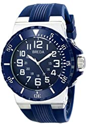 Breda Men's 9302-blue Clinton Tachometer Brushed Metal Navy Sport Watch