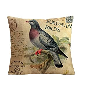 ilkin Decorative custom personalized pillow cases 18 x 18 Inch Linen Cloth Pillow Cover Cushion Case, european bird