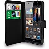 HUAWEI ASCEND P6 BLACK LEATHER WALLET FLIP CASE COVER POUCH + FREE SCREEN PROTECTOR & RETRACTABLE TOUCH STYLUS PEN