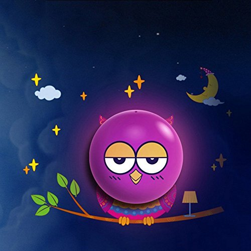 Hestian Kids Small Night Light DIY 3d Wallpaper Novelty Cartoon Wall Stickers with Sensor Plug-in Wall Night Lamp for Kids' Bedroom - Owl