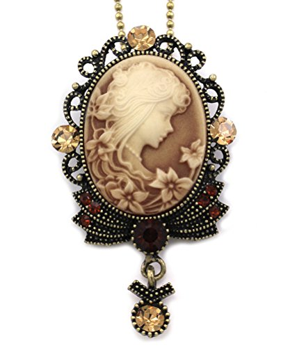 Brown-Cameo-Pendant-Necklace-Flower-Lady-Fashion-Jewelry