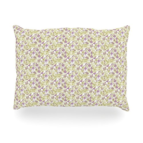 "Kess Inhouse Julie Hamilton ""Rhapsody Vine"" Yellow Purple Oblong Rectangle Outdoor Throw Pillow, 14 By 20-Inch front-1001631"