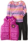Young Hearts Baby Girls' 3 Piece Stripped Heart Vest And Pant Set, Purple, 18 Months