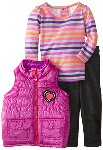 Young Hearts Baby-Girls Infant 3 Piece Stripped Heart Vest And Pant Set, Purple, 12 Months front-106338
