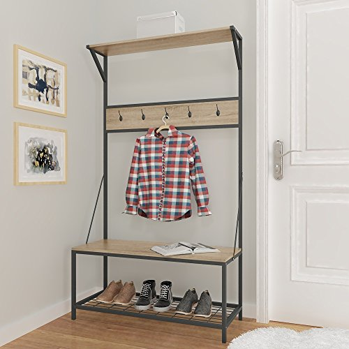Weathered Oak Metal Entryway Shoe Bench With Coat Rack Hall Tree Storage Orga Ebay