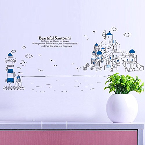 EMIRACLEZE New Style Hote Sale Beautiful Landscape of Santorini Island Removable Mural Wall Stickers Wall Decal for Children Bedroom Nursery Home Decor