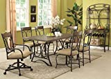 Acme 71150 Keile Oak & Antique Black Finish Dining Table Set