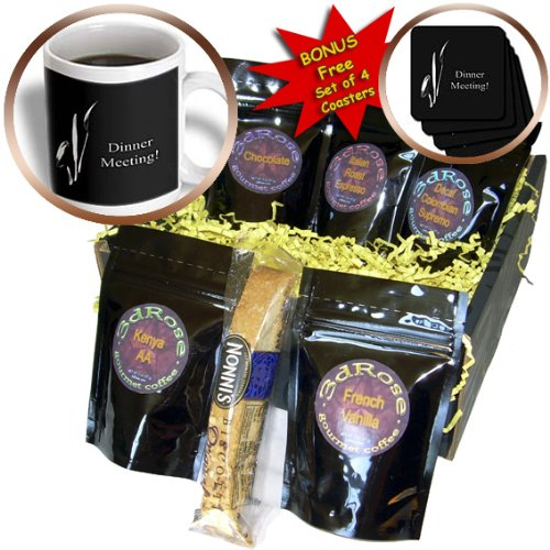 Cgb_43330_1 Beverly Turner Business Design - Dinner Meeting, Spoon Knife And Fork On Black, Business - Coffee Gift Baskets - Coffee Gift Basket