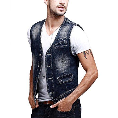 Zicac denim uomo del panciotto della maglia gilet uomo jeans alla moda (UK S (Asia L))
