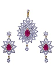 Gehna Ruby Pear Shape Stone Studded Chandelier Earrings With Yellow & White Rhodium