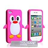"Apple iPhone 4 Tasche Silikon Pinguin H�lle Hei� Rosavon ""Yousave Accessories�"""