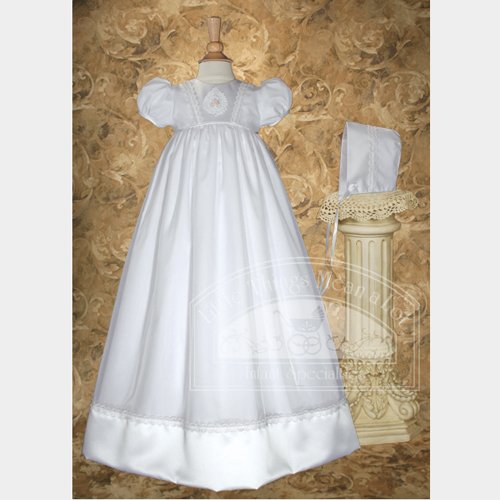 Baby Girls White Lace Applique Baptism Gown Dress 6M