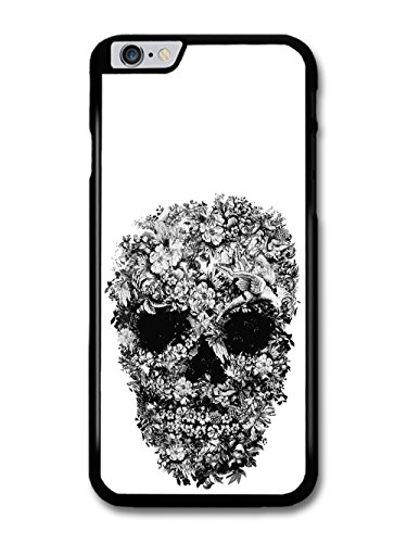 Skull with Flowers Pattern Black and White by Alexander Mcqueen custodia per iPhone 6 Plus