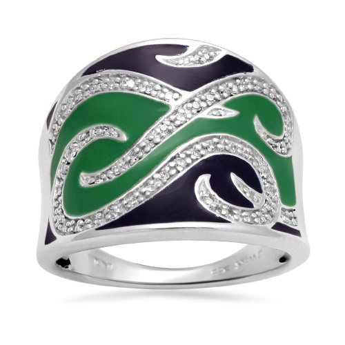 Sterling Silver Blue Green Enamel Diamond Ring (1/6 cttw, I-J Color, I2-I3 Clarity), Size 5