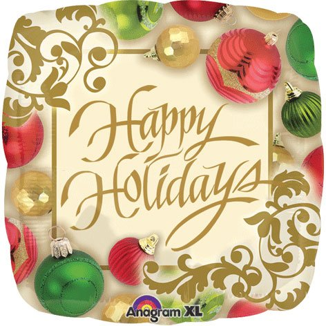 "Happy Holidays 18"" Festive Christmas Ornaments Party Mylar Foil Balloon"