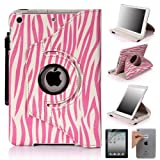 E LV 360 Degrees Rotating Stand Luxury Zebra Design PU Leather Case for Apple New iPad Mini with Automatic Wake and Sleep function+1 Black Stylus, 1 Screen Protector and E LV Microfiber Sticker Digital Cleaner (Zebra Rose Pink, iPad Mini)