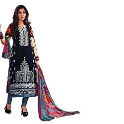 Paridhan Women'S Black Cotton Embroidered Suit 14705B