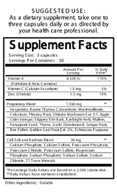 Thymus Supplement, Thymus Blend, Glandular Health Supplement, Amazing Natural Immune, Thymus Support Supplement, with Golden Seal Root Extract, Garlic, Montmorillonite, Colostrums, Shiitake Mushrooms, Mullein Leaves, Vitamin A, Bee Pollen, and Other High-