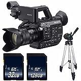 Sony PXW-FS5 XDCAM Super 35 Camera System with 18-105 Zoom Lens + 32GB SDHC Class 10 Memory Card + 128GB SDXC Class 10 Memory Card + Full Size Tripod Bundle - International Version (No Warranty)