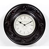 """Home And Bazaar Traditional Rajasthani Wall Clock With Dark Brown Finish 12"""""""