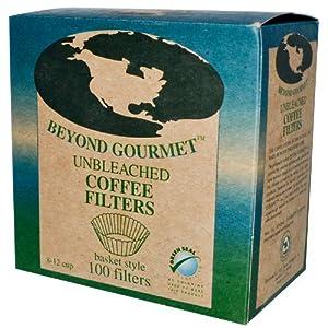 Beyond Gourmet Unbleached Coffee Filters, 100 Basket Style Filters by Beyond Gourmet