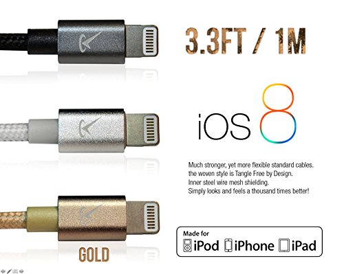 [Apple MFi Certified] Volts© 3ft Gold Nylon Braided Lightning to USB Cable Charger w/ Aluminum Case on 8 pin Connector. Tangle Free Premium Accessories Made for iPhone, iPad, iPod. (3.3ft / 1 meter Go