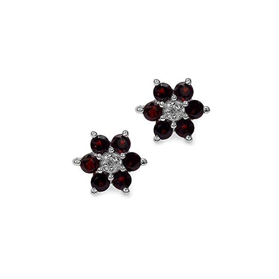 Silvancé - Women's Earrings - 925 Sterling Silver - Genuine Garnet - E800GWD_SSR