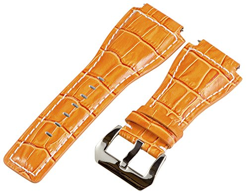 24Mm Orange / White Croco Leather Replacement Watch Band Strap - Made For Bell & Ross