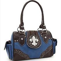 Rhinestone Adorned Shoulder Bag w/ Fleur de Lis Accent & Croco Trim - Blue/Coffe