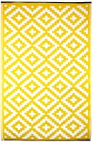 Green Decore 120 x 180 cm Nirvana Indoor Outdoor/ Light Weight/ Reversible Eco Rug, Yellow/ White by Green Decore