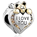 Silver Plated Pugster I Love You Heart Bear Charm Bead Fits Pandora Bracelet