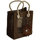 2.5 x 3 Mini Burlap Bag With Attached Flower - Brown - sold individually
