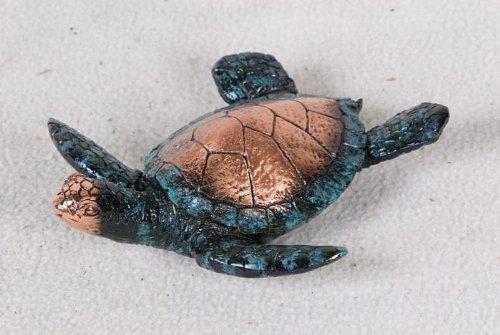 2 Inch Copper New Born Sea Turtle Hatchling Swimming Decorative Statue front-225602