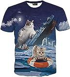 (ピゾフ)Pizoff メンズ Tシャツ 半袖  猫柄 おもしろ 3Dプリント オリジナル モード系 ストリート ファッション ヒップホップスタイル 快適 男女兼用 トップス 夏物 Y1625-79-XXL