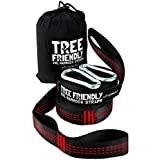 NEW ErgaLogik XXL Tree Friendly Suspension Hammock Straps - 20 Feet Total - Heavy Duty - Camping Hammock Accessories, Hiking (Red)