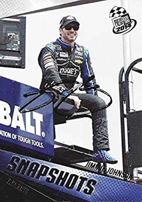AUTOGRAPHED Jimmie Johnson 2014 Press Pass Racing SNAPSHOTS (#48 Lowe's Motorsports Team) Signed Collectible NASCAR Trading Card with COA