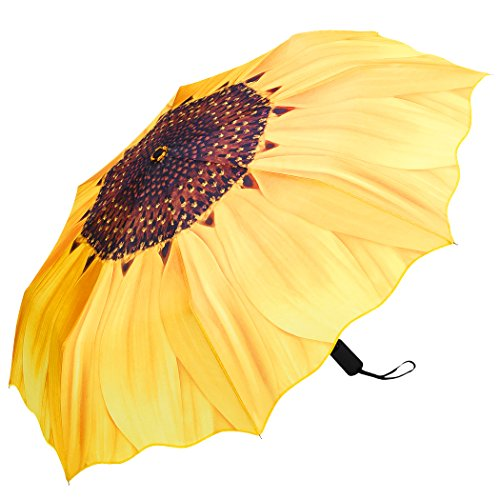 Plemo Regenschirm, Sonnenblume Automatik Taschenschirm Schirm Damenschirm (94 cm Durchmesser) - Gelb