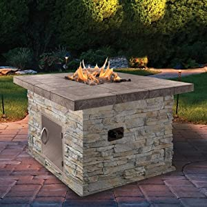 Natural Stone Propane Gas Fire Pit Patio