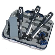 Footprint Tools 389HSG 5pc. Wood Chisel and Sharpening Set in Plastic Storage Case