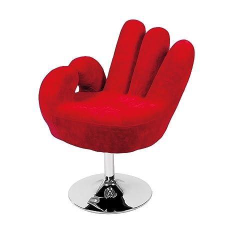 Sessel Cribel Hand, Metall verchromt, microseda, Rot