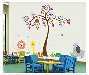 Tarmader Colorful Tree with Monkey Giraffe Lion Elephant and Owl DIY Wall Decal Nursery Room Decals