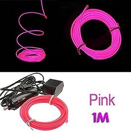 TOOGOO (R) 1M flessibile di EL Wire Neon LED del partito della luce dell'automobile del tubo della fune + 12V Inverter - Rosa