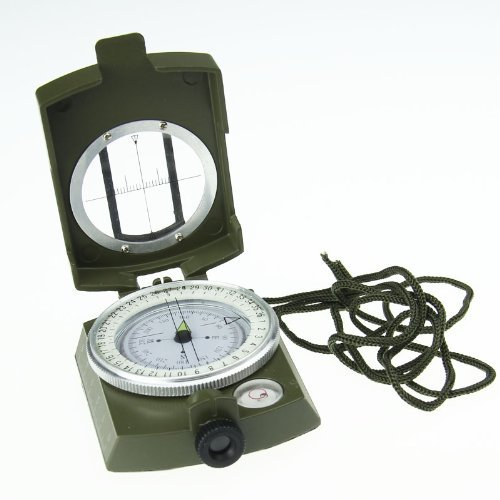 Generic Military Bearing Prismatic Lensatic Sighting Compass With Pouch & Neck Strap,Reference Table Base For Estimating Distance Slope,Professionally Liquid-Dampened, Full Metal Body With Bearing Prism / Lens System,For Outdoor Activities Like Camping, H