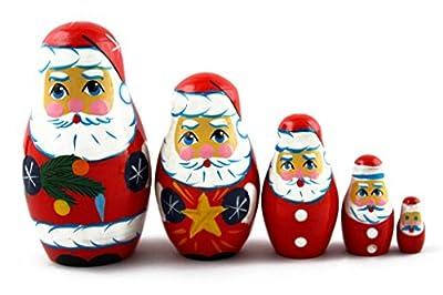 Matryoshka Matreska Babuska Russian Nesting Wooden Doll Santa Claus Matrioshka 5 Pcs Stacking Hand Painting Beautiful Nested Great Craft Matriosjka Matrioska Matreshka Matrjoska Matroeska