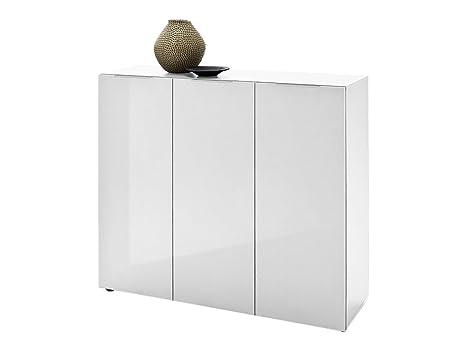 """Kommode Schrank Highboard Sideboard Anrichte Beistellkommode Möbel """"Dartford II"""" (Hochglanz weiß-lackiert)"""